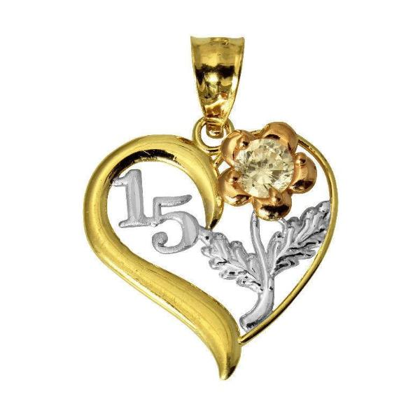 14K Real 3 Color Yellow White Rose Gold Sweet 15 Anos Quinceanera Heart Cubic Zirconia Charm Pendant