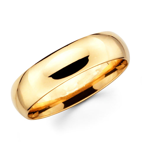 14K Solid Real Yellow Gold Classic Plain Polished Regular Fit Wedding Band Ring for Men & Women 8mm Width
