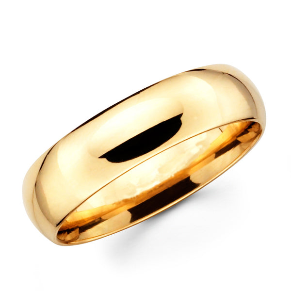 14K Solid Real Yellow Gold Classic Plain Polished Comfort Fit Wedding Band Ring for Men & Women 8mm Width