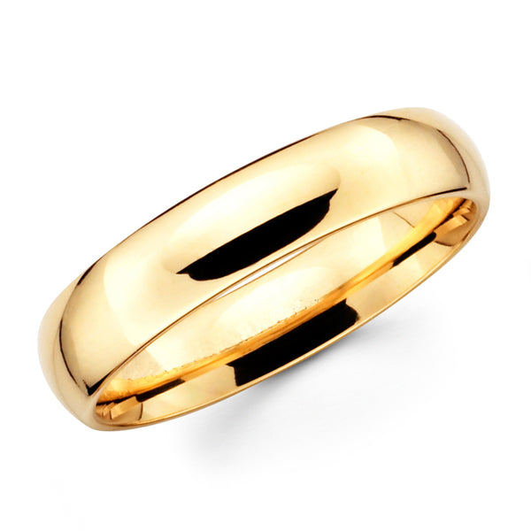 14K Solid Real Yellow Gold Classic Plain Polished Comfort Fit Wedding Band Ring for Men & Women 6mm Width