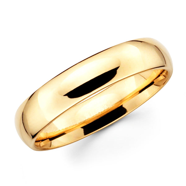 14K Solid Real Yellow Gold Classic Plain Polished Regular Fit Wedding Band Ring for Men & Women 5mm Width