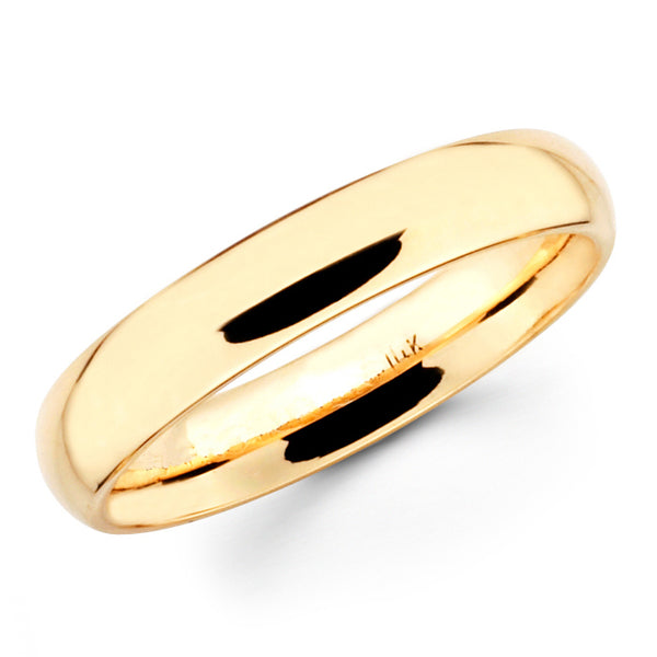 14K Solid Real Yellow Gold Classic Plain Polished Comfort Fit Wedding Band Ring for Men & Women 4mm Width