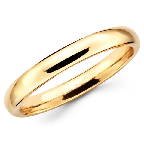 14K Solid Real Yellow Gold Classic Plain Polished Regular Fit Wedding Band Ring for Men & Women 3mm Width