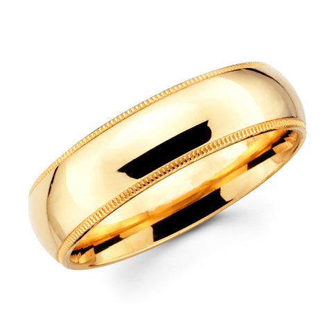 14K Solid Real Yellow Gold Classic Milgrain Polished Regular Fit Wedding Band Ring for Men & Women 8mm Width