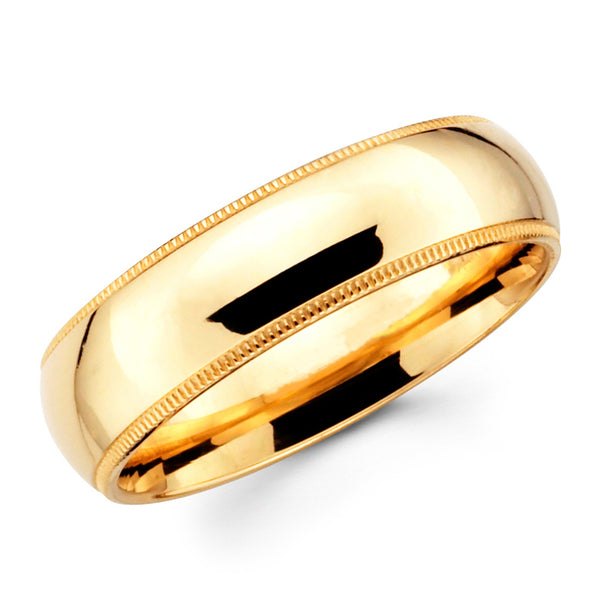 14K Solid Real Yellow Gold Classic Milgrain Polished Regular Fit Wedding Band Ring for Men & Women 7mm Width