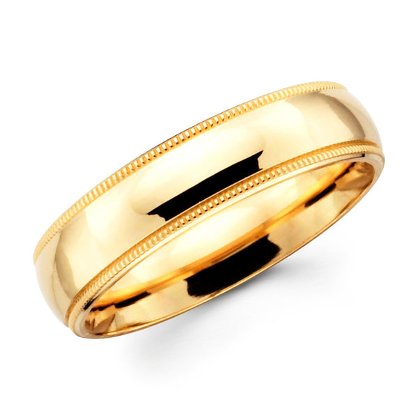 14K Solid Real Yellow Gold Classic Milgrain Polished Regular Fit Wedding Band Ring for Men & Women 5mm Width