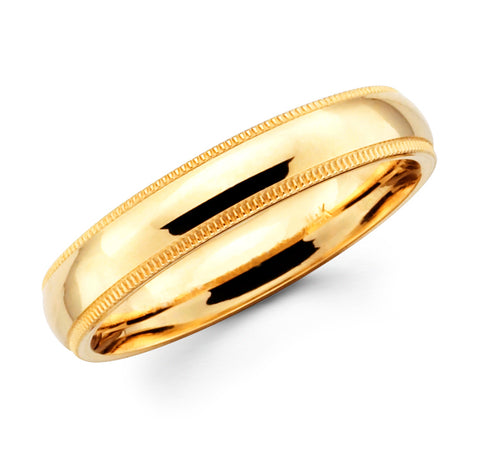 14K Solid Real Yellow Gold Classic Milgrain Polished Regular Fit Wedding Band Ring for Men & Women 4mm Width