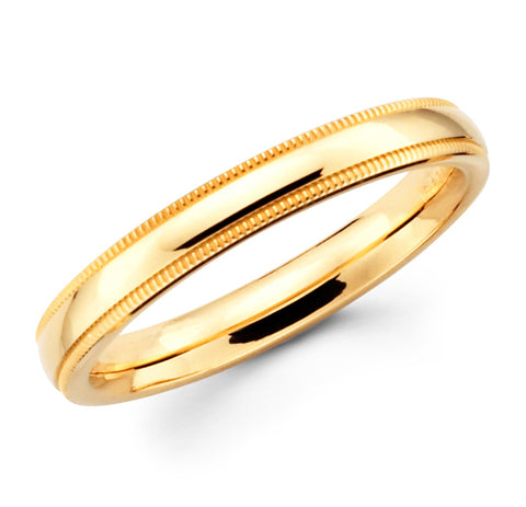 14K Solid Real Yellow Gold Classic Milgrain Polished Regular Fit Wedding Band Ring for Men & Women 3mm Width