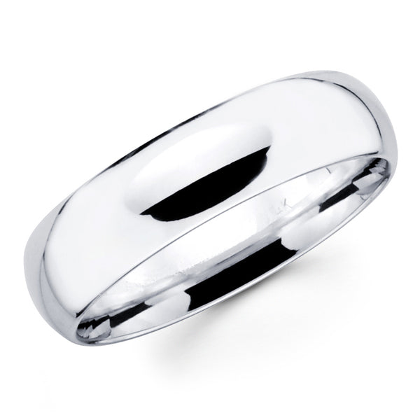 14K Solid Real White Gold Classic Plain Polished Regular Fit Wedding Band Ring for Men & Women 8mm Width