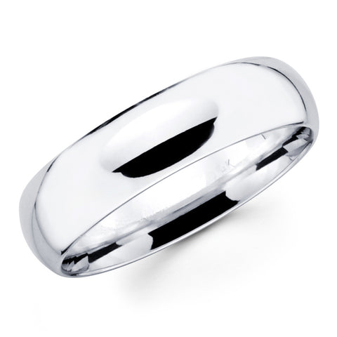 14K Solid Real White Gold Classic Plain Polished Comfort Fit Wedding Band Ring for Men & Women 8mm Width