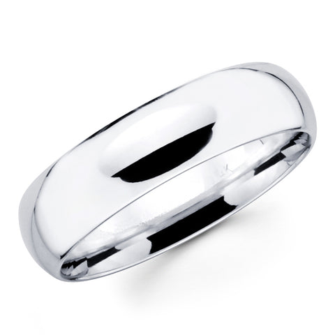 14K Solid Real White Gold Classic Plain Polished Regular Fit Wedding Band Ring for Men & Women 7mm Width
