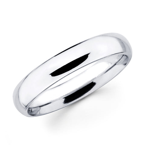 14K Solid Real White Gold Classic Plain Polished Regular Fit Wedding Band Ring for Men & Women 4mm Width