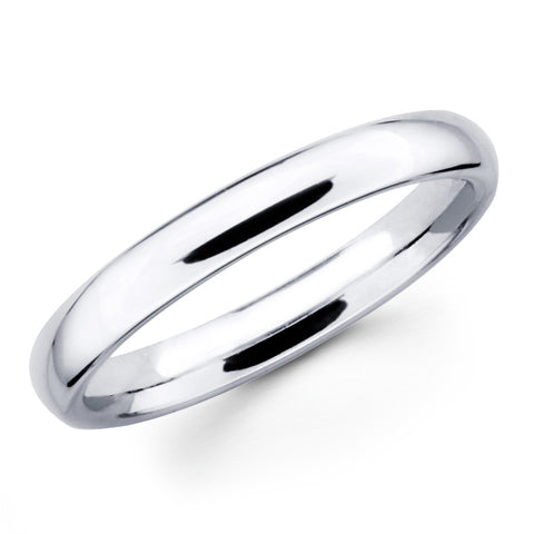 14K Solid Real White Gold Classic Plain Polished Regular Fit Wedding Band Ring for Men & Women 3mm Width