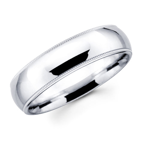14K Solid Real White Gold Classic Milgrain Polished Regular Fit Wedding Band Ring for Men & Women 8mm Width