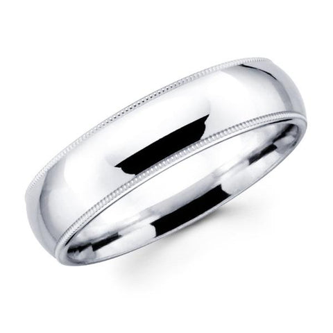 14K Solid Real White Gold Classic Milgrain Polished Regular Fit Wedding Band Ring for Men & Women 7mm Width