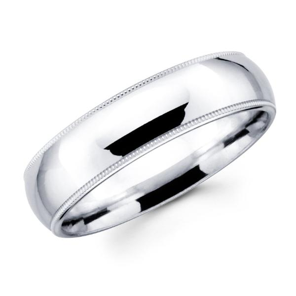 14K Solid Real White Gold Classic Milgrain Polished Comfort Fit Wedding Band Ring for Men & Women 7mm Width
