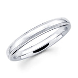 14K Solid Real White Gold Classic Milgrain Polished Regular Fit Wedding Band Ring for Men & Women 3mm Width