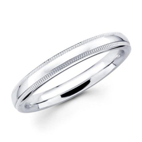 14K Solid Real White Gold Classic Milgrain Polished Comfort Fit Wedding Band Ring for Men & Women 3mm Width