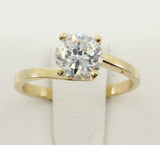 1.00 Ct 14K Real Yellow Gold Round Cut Fancy 4 Prong Twist Solitaire Engagement Wedding Bridal Propose Promise Ring