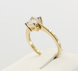 1.00 Ct 14K Real Yellow Gold Princess Cut 4 Prong Classic Solitaire Engagement Wedding Bridal Propose Promise Ring