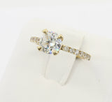 1.50 Ct 14K Real Yellow Gold Round Cut with Pave Set Side Stones 4 Prong Cathedral Setting Engagement Wedding Bridal Propose Promise Ring