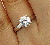 1.00 Ct 14K Real White Gold Cathedral Set Classic 4 Prong Round Solitaire Engagement Wedding Bridal Propose Promise Ring