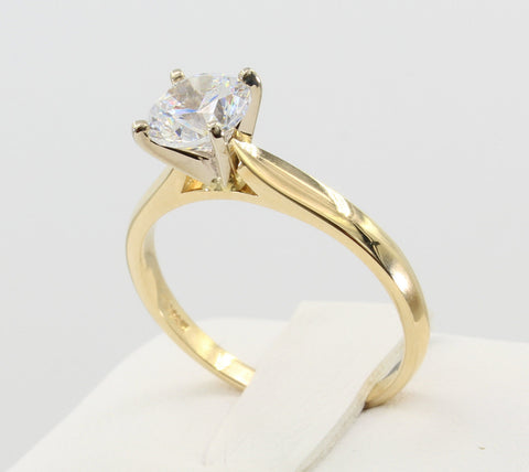1.00 Ct 14K Real Yellow Gold Cathedral Setting Classic 4 Prong Round Cut Solitaire Engagement Wedding Bridal Propose Promise Ring