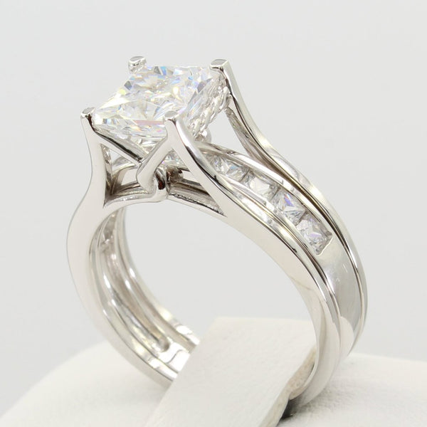 2.00 Ct 14K Real White Gold Princess Cut Channel Set Matching Band Trellis Setting Engagement 2 Ring