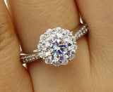 1.75 Ct 14K Real White Gold Round Cut with Pave Set Side Stones 4 Prong Illusion Halo Setting Solitaire Engagement Wedding Propose Promise Ring