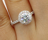 1.50 Ct 14K Real White Gold Round Cut with Pave Set Side Stones Illusion Halo Setting Engagement Wedding Propose Promise Ring