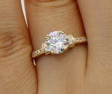 1.50 Ct 14K Real Yellow Gold Round Cut with Pave Set Side Stones 4 Double Prong Basket Setting Engagement Wedding Bridal Propose Promise Ring