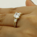 2.50 Ct 14K Real Yellow Gold 3 Three Stones Square Princess Cut Center with Princess and Round Pave Set Side Stones Engagement Wedding Propose Promise Ring