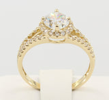 1.75 Ct 14K Real Yellow Gold Round Cut with Pave Set Side Stones Double Line 2 Rows Illusion Halo Setting Engagement Wedding Bridal Propose Promise Ring