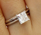 1.25 Ct 14K Real White Gold Square Princess Cut 4 Prong Setting Solitaire Engagement Wedding Propose Promise Ring with Matching Plain Band Duo 2 Ring Set