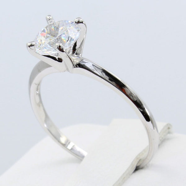 1.00 Ct 14K Real White Gold Classic 4 Prong Round Cut Solitaire Engagement Wedding Bridal Propose Promise Ring