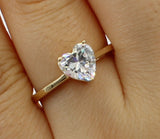 1.50 Ct 14K Real Yellow Gold Heart Cut Shape Basket Setting Solitaire Engagement Wedding Bridal Propose Promise Ring