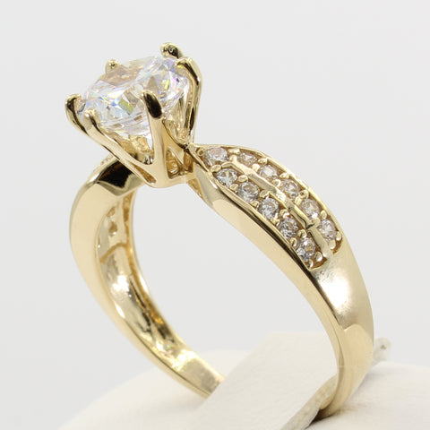 2.00 Ct 14K Real Yellow Gold Round Cut with Pave Set Side Stones 2 Lines Double Row 6 Prong Cathedral Setting Engagement Wedding Bridal Propose Promise Ring