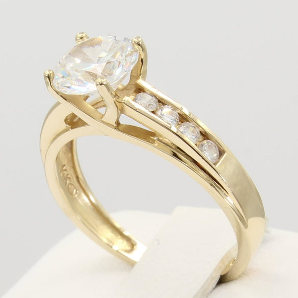 2 Ct 14K Real Yellow Gold Round Cut Channel Set Side Stones 4 Prong Trellis Setting Engagement Ring