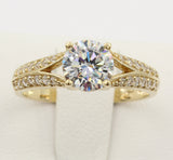 1.50 Ct 14K Real Yellow Gold Round Cut with Pave Side Stones Fancy 2 Lines Double Row 4 Prong Basket Setting Engagement Wedding Bridal Propose Promise Ring