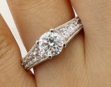 2.50 Ct 14K Real White Gold Fancy Round Cut with Pave Set Side Stones 4 Prong Setting Antique Vintage Style Engagement Wedding Bridal Propose Promise Ring