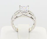 2.50 Ct 14K Real White Gold Fancy Square Princess Cut Center with Channel Set Side Stones 4 Prong Trellis Setting Solitaire Engagement Bridal Wedding Propose Promise Ring