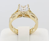2.00 Ct 14K Real Yellow Gold Square Princess Cut with Channel Set Matching Band 4 Prong Trellis Setting Fancy Engagement Bridal Propose Promise Duo 2 Ring Set