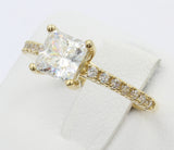 1.50 Ct 14K Real Yellow Gold Square Princess Cut with Round Pave Side Stones 4 Prong Trellis Basket Engagement Wedding Bridal Propose Promise Ring