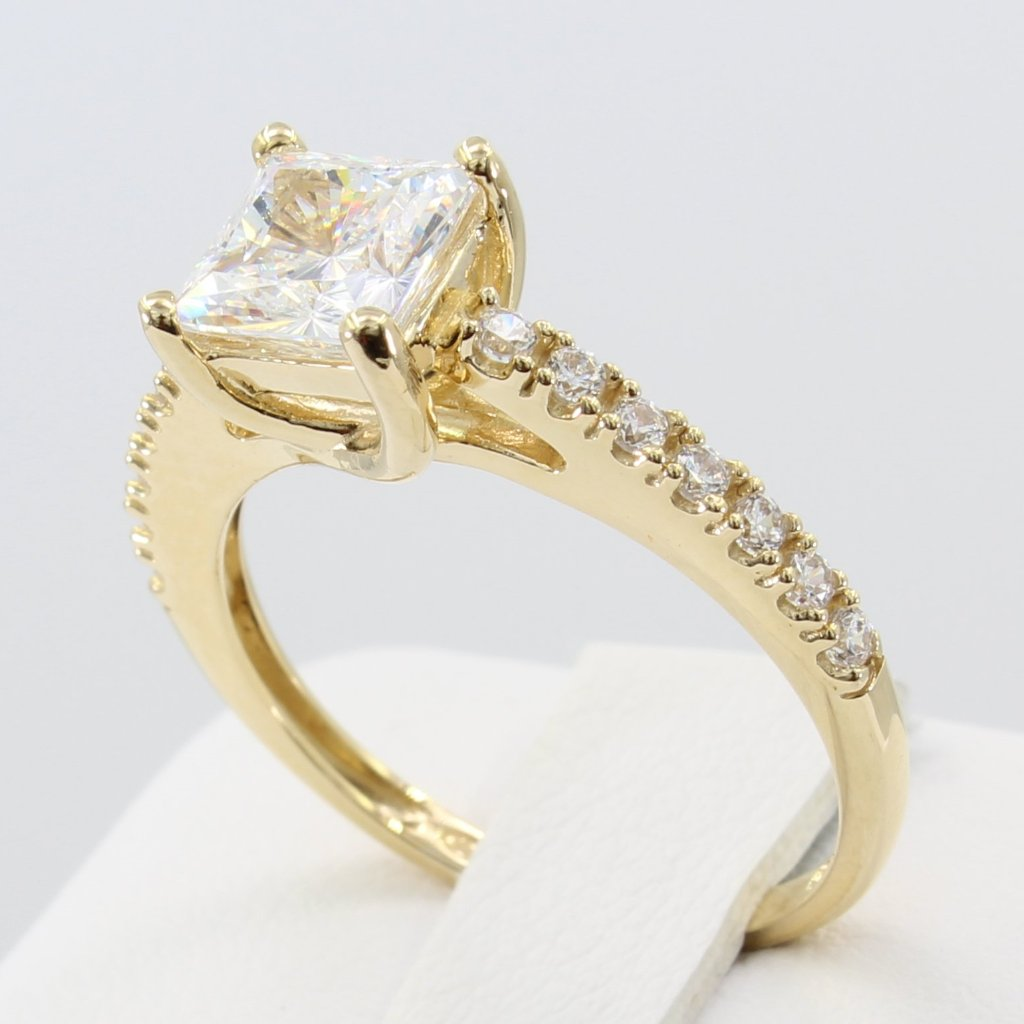 f95959eabf720 1.50 Ct 14K Real Yellow Gold Square Princess Cut with Round Pave Side  Stones 4 Prong