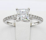 1.50 Ct 14K Real White Gold Square Princess Cut with Round Pave Set Side Stones 4 Prong Trellis Setting Engagement Wedding Bridal Propose Promise Ring