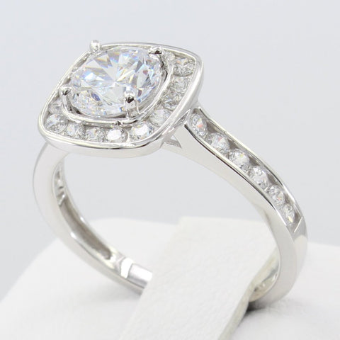 2.00 Ct 14K Real White Gold Fancy Round Cut with Channel Set Side Stones Illusion Halo Setting Engagement Wedding Bridal Propose Promise Ring