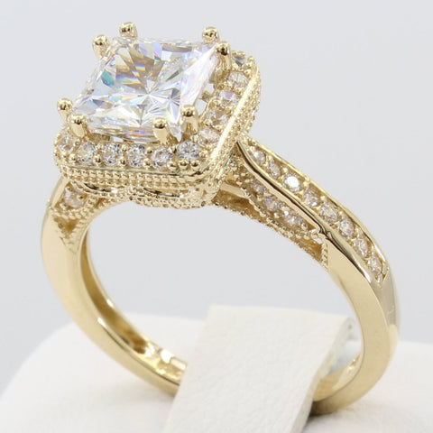 2.50 Ct 14K Real Yellow Gold Fancy Square Princess Cut Center with Pave Set Side Stones Illusion Halo Setting Antique Vintage Style Engagement Wedding Bridal Propose Promise Ring
