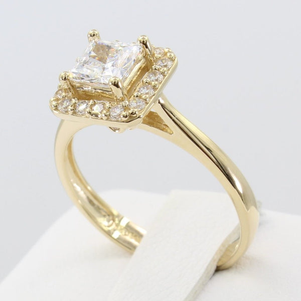1.00 Ct 14K Real Yellow Gold Princess Cut 4 Prong Pave Illusion Halo Setting Engagement Bridal Wedding Propose Promise Ring