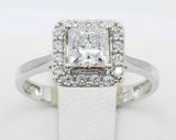 1.25 Ct 14K Real White Gold Square Princess Cut 4 Prong Illusion Halo Setting Pave Set Stones Engagement Bridal Wedding Propose Promise Ring