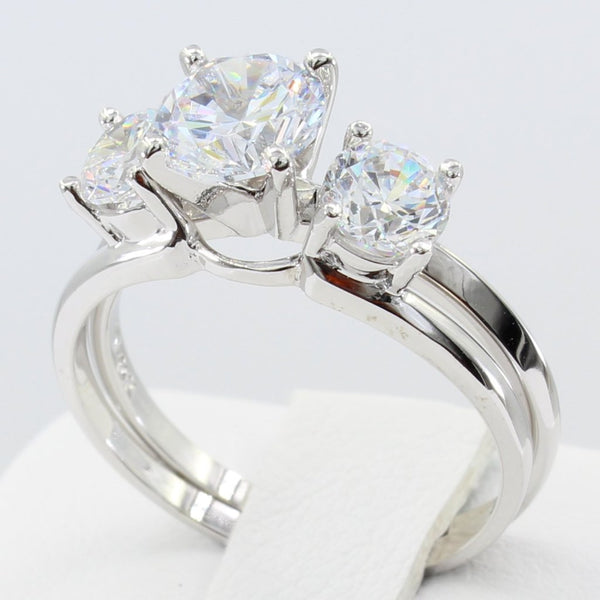 2.25 Ct 14K Real White Gold 3 Three Stones Round Cut with Side Stones Matching Band 4 Prong Cathedral Setting Solitaire Engagement Wedding Bridal Propose Promise Duo 2 Piece Ring Set